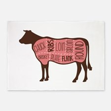 Cow Meat Cuts Diagram 5'x7'Area Rug
