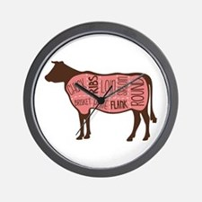 Cow Meat Cuts Diagram Wall Clock