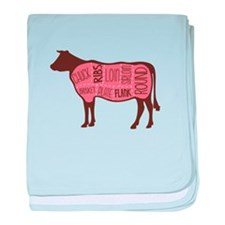 Cow Meat Cuts Diagram baby blanket