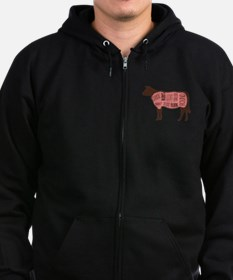 Cow Meat Cuts Diagram Zip Hoodie