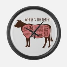 WHERES THE BEEF?! Large Wall Clock