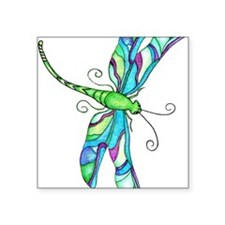 """Turquise Dragonfly Square Sticker 3"""" x 3"""""""