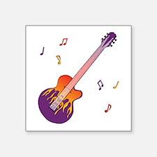 "Fire - Guitar Square Sticker 3"" x 3"""