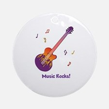 Personalized Fire Guitar Ornament (Round)