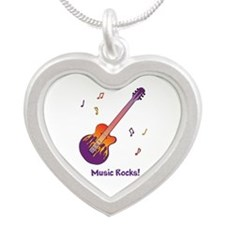 Personalized Fire Guitar Silver Heart Necklace
