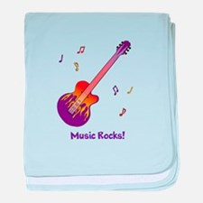 Personalized Fire Guitar baby blanket