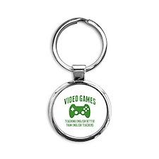 Video Games Teaching English Round Keychain