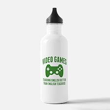 Video Games Teaching English Water Bottle
