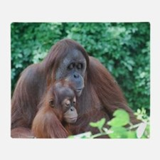 Orangutan Mom with a Baby Throw Blanket