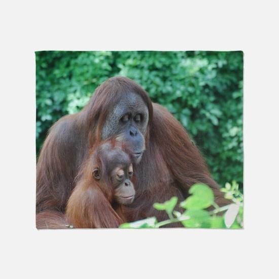 Orangutan Mom with a Baby Throw Blanket