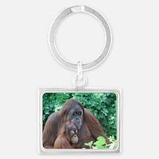 Orangutan Mom with a Baby Landscape Keychain