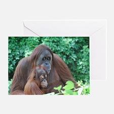 Orangutan Mom with a Baby Greeting Card