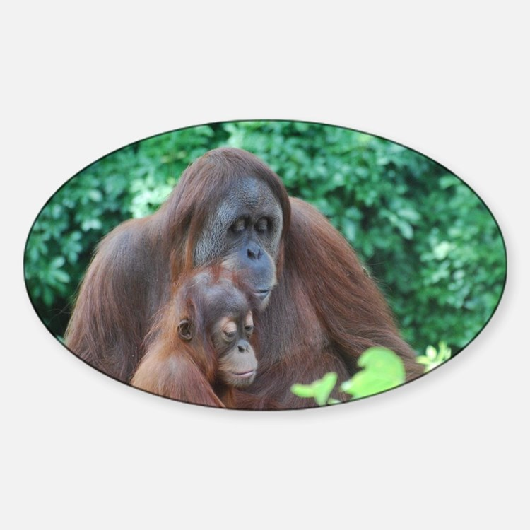 Orangutan Mom with a Baby Decal
