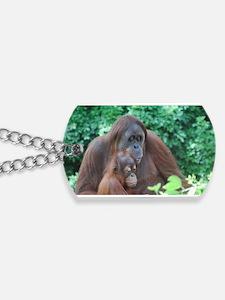 Orangutan Mom with a Baby Dog Tags