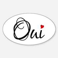 Oui, yes, French word art with red heart Decal