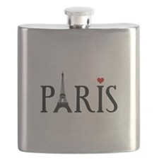 Paris with Eiffel tower, French word art Flask