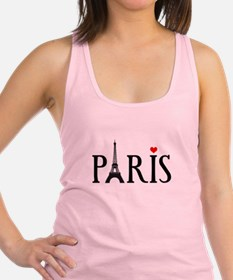 Paris with Eiffel tower, French word art Racerback