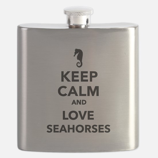 Keep calm and love seahorses Flask