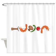 Shrimp Vegetable Kebab Shower Curtain