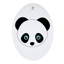 Panda Bear Head Ornament (Oval)