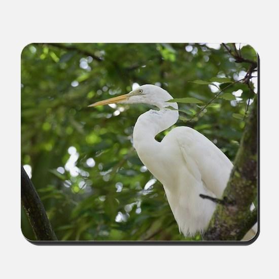 White Egret Bird in a Tree Mousepad