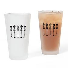 Vintage fashion mannequins Drinking Glass