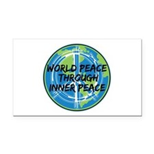 World Peace Through Inner Pea Rectangle Car Magnet