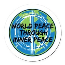 World Peace Through Inner Peace Round Car Magnet