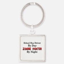 School Bus Driver/Zombie Hunter Square Keychain