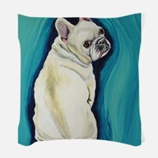 White French Bulldog Woven Throw Pillow