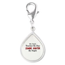 6th. Grade Teacher/Zombie H Silver Teardrop Charm