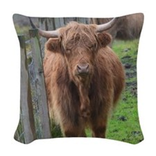 Highland Cow Standing by Highl Woven Throw Pillow
