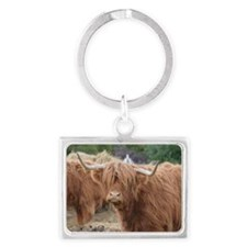 Cute Highland Cow Landscape Keychain