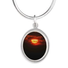 Wonderful Sunset Silver Oval Necklace
