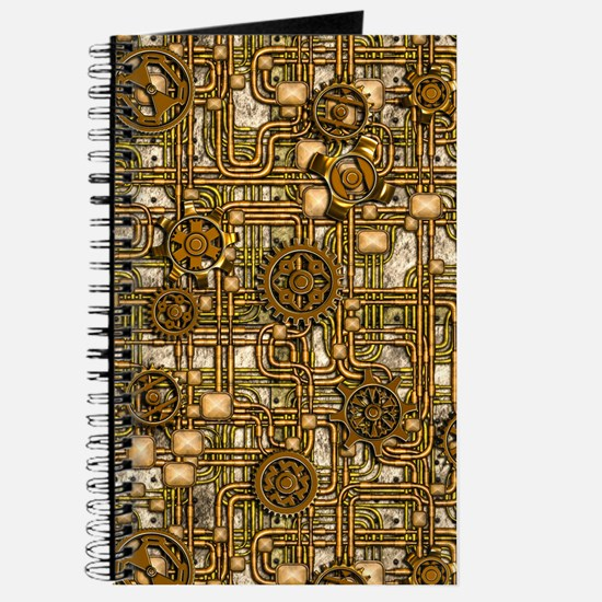 Steampunk Cogs&Pipes-Brass Journal