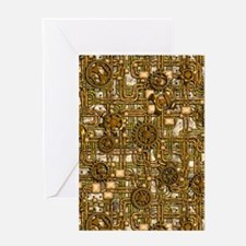 Steampunk Cogs&Pipes-Brass Greeting Card