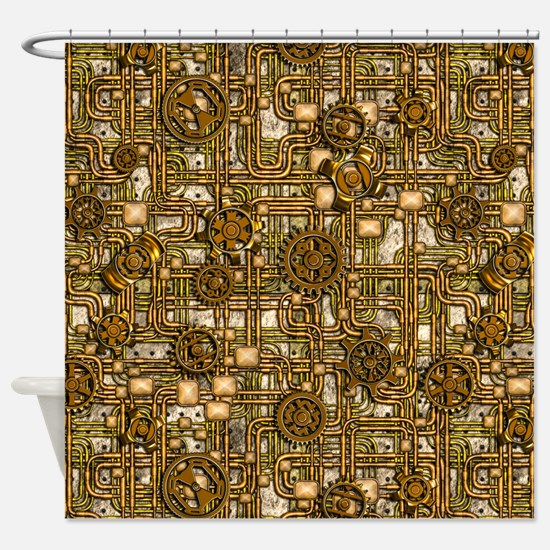 Steampunk Cogs&Pipes-Brass Shower Curtain