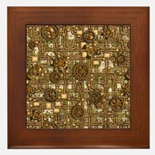 Steampunk Cogs&Pipes-Brass Framed Tile