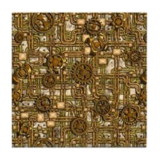 Steampunk Cogs&Pipes-Brass Tile Coaster