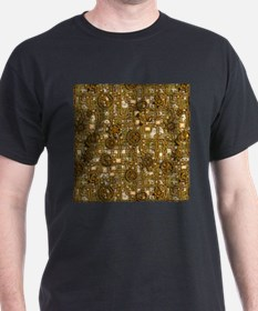 Steampunk Cogs&Pipes-Brass T-Shirt