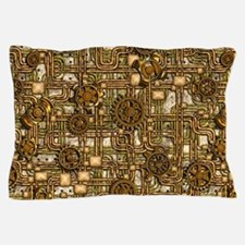 Steampunk Cogs&Pipes-Brass Pillow Case