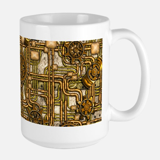 Steampunk Cogs&Pipes-Brass Large Mug
