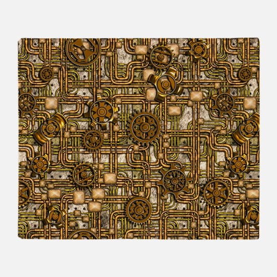 Steampunk Cogs&Pipes-Brass Throw Blanket