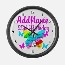 BLESSED 25TH Large Wall Clock