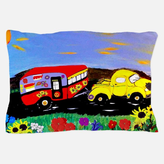 Retro Yellow Truck and Camper Trailer  Pillow Case