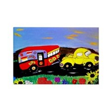 Retro Yellow Truck and Camper Tra Rectangle Magnet
