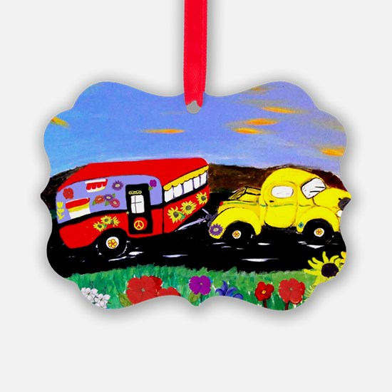 Retro Yellow Truck and Camper Tra Ornament