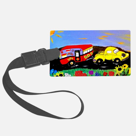 Retro Yellow Truck and Camper Tr Large Luggage Tag