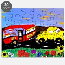 Retro Yellow Truck and Camper Trailer art Puzzle