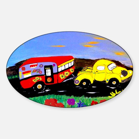 Retro Yellow Truck and Camper Trail Sticker (Oval)